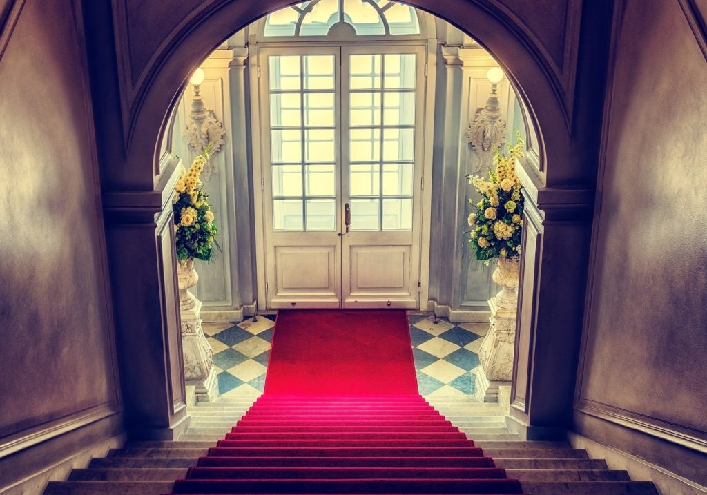 Red carpet for wedding or special event